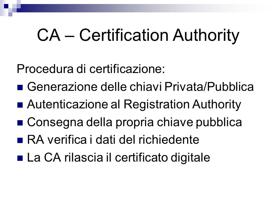CA – Certification Authority
