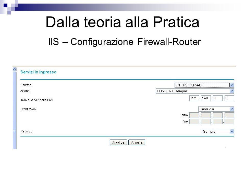Dalla teoria alla Pratica IIS – Configurazione Firewall-Router