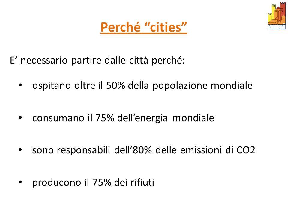 Perché cities E' necessario partire dalle città perché: