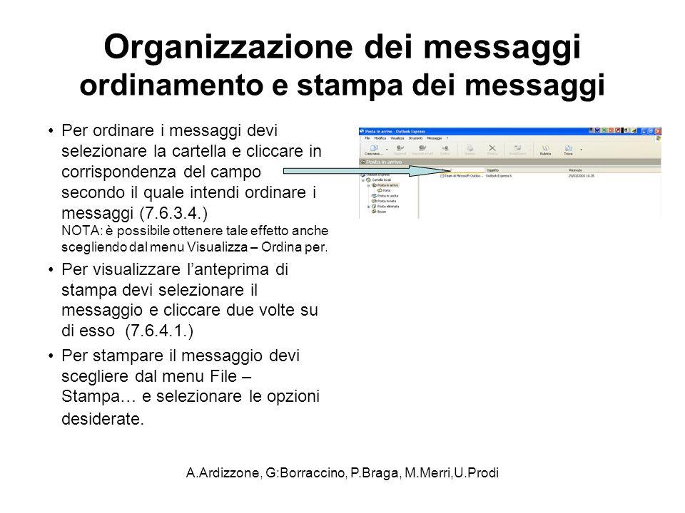 Organizzazione dei messaggi ordinamento e stampa dei messaggi