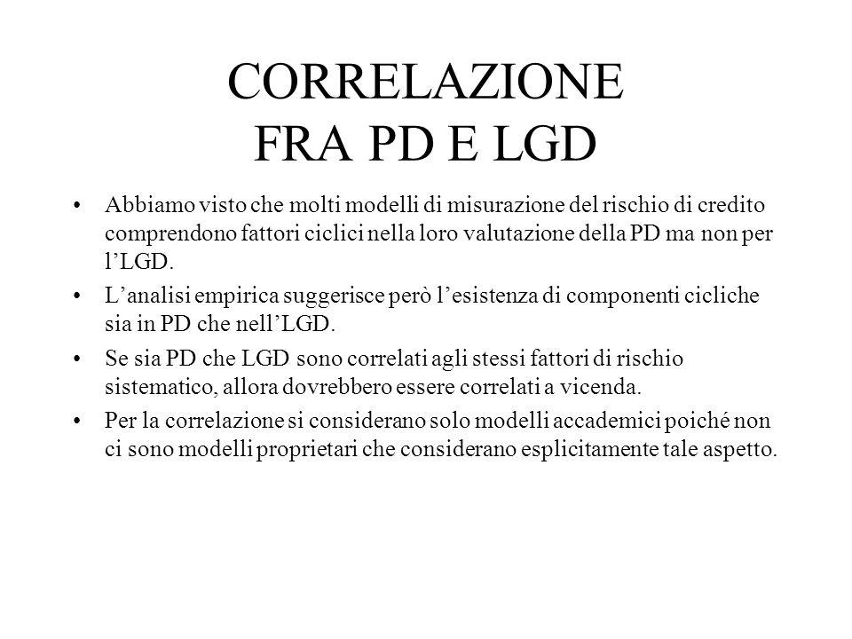 CORRELAZIONE FRA PD E LGD