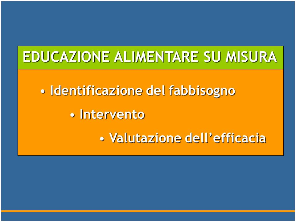 EDUCAZIONE ALIMENTARE SU MISURA
