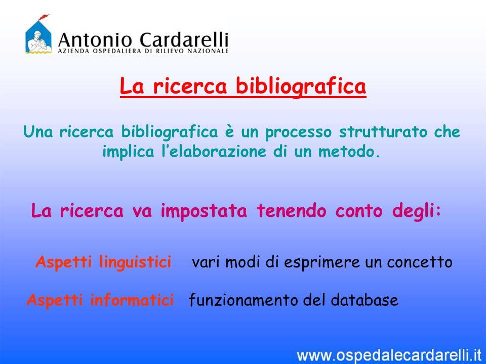 La ricerca bibliografica La ricerca va impostata tenendo conto degli: