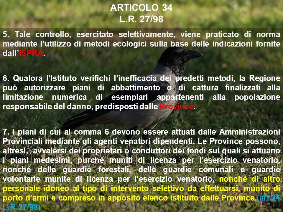 ARTICOLO 34 L.R. 27/98