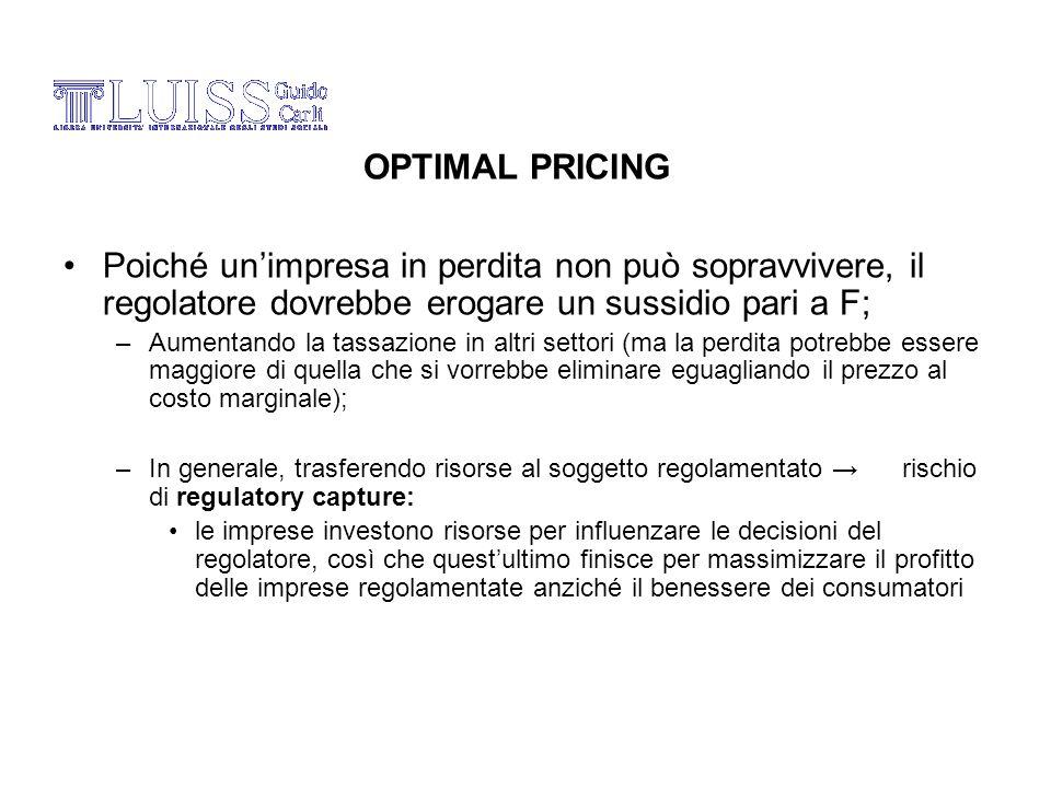OPTIMAL PRICING Poiché un'impresa in perdita non può sopravvivere, il regolatore dovrebbe erogare un sussidio pari a F;