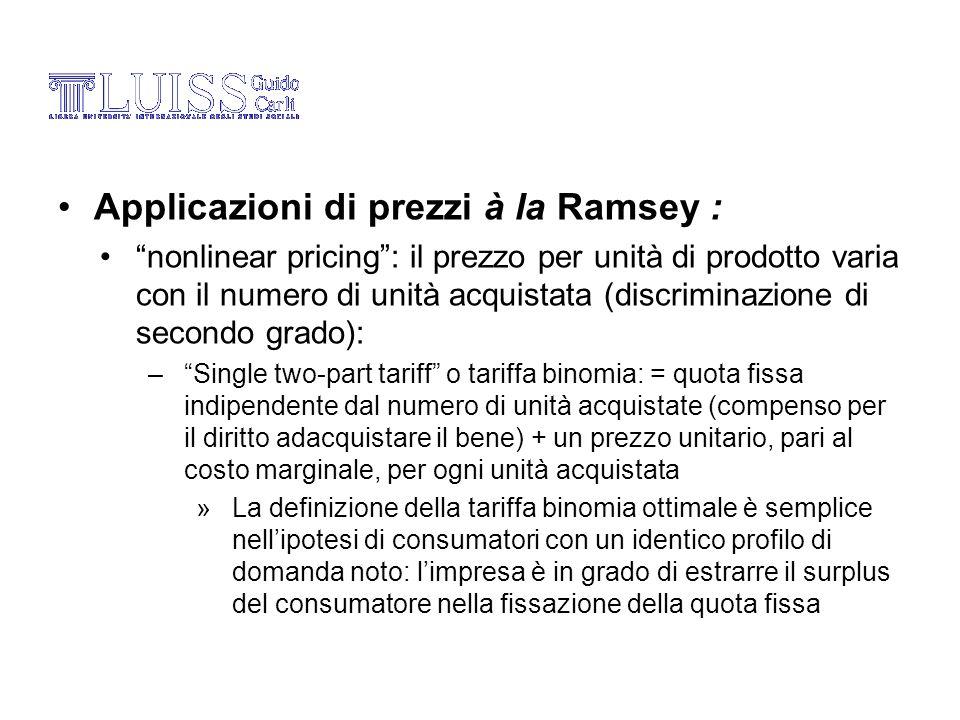 Applicazioni di prezzi à la Ramsey :