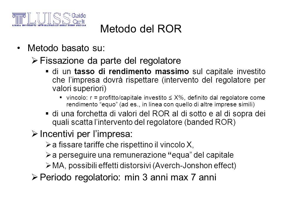Metodo del ROR Metodo basato su: Fissazione da parte del regolatore
