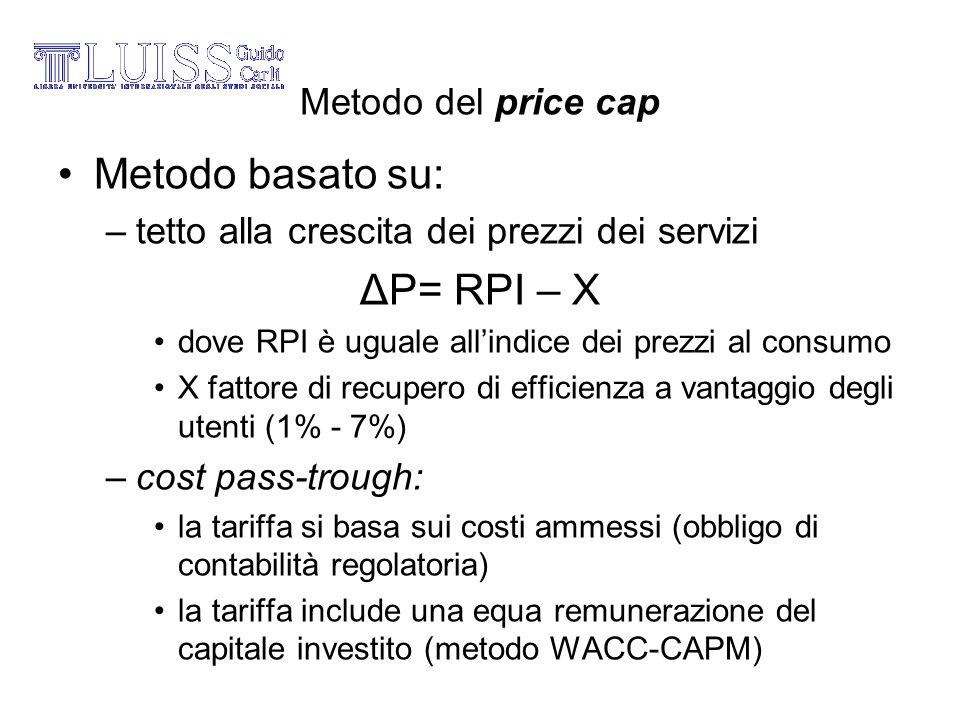 Metodo basato su: ΔP= RPI – X Metodo del price cap