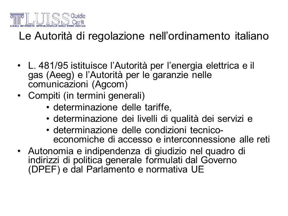 Le Autorità di regolazione nell'ordinamento italiano