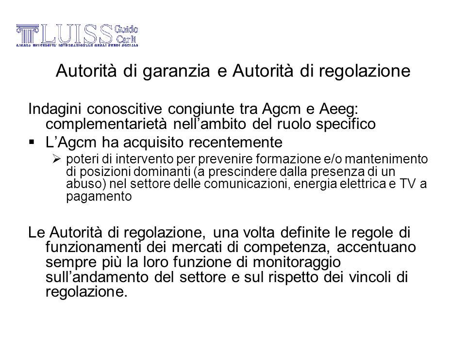 Autorità di garanzia e Autorità di regolazione