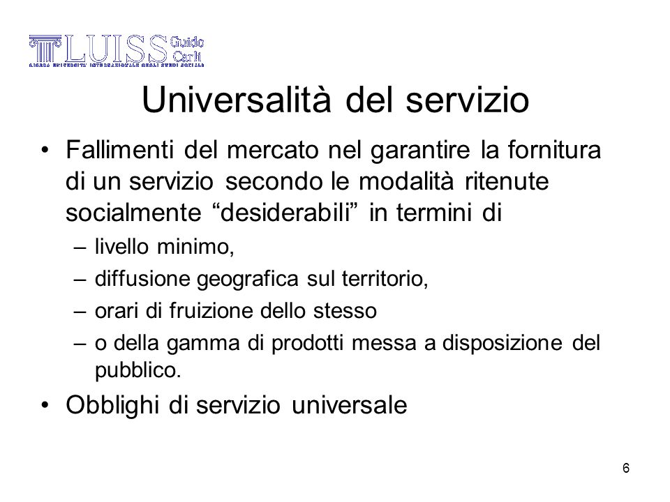 Universalità del servizio