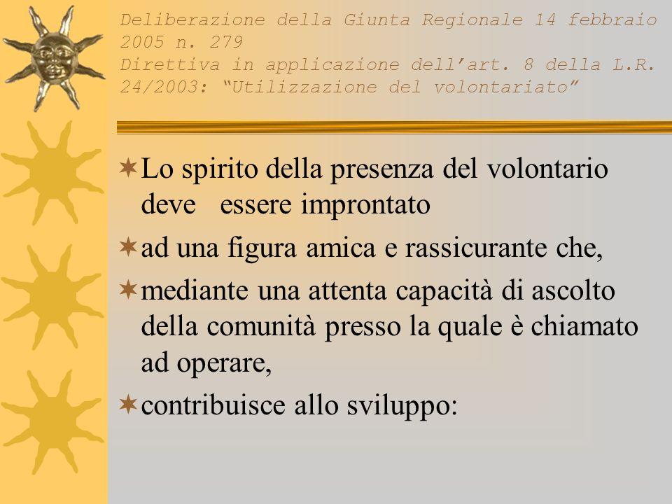 Lo spirito della presenza del volontario deve essere improntato