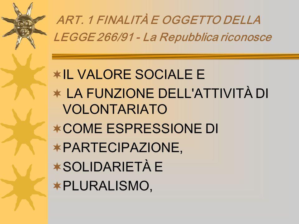 ART. 1 FINALITÀ E OGGETTO DELLA LEGGE 266/91 - La Repubblica riconosce