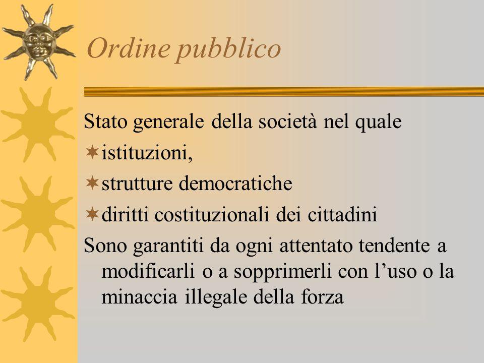 Ordine pubblico Stato generale della società nel quale istituzioni,