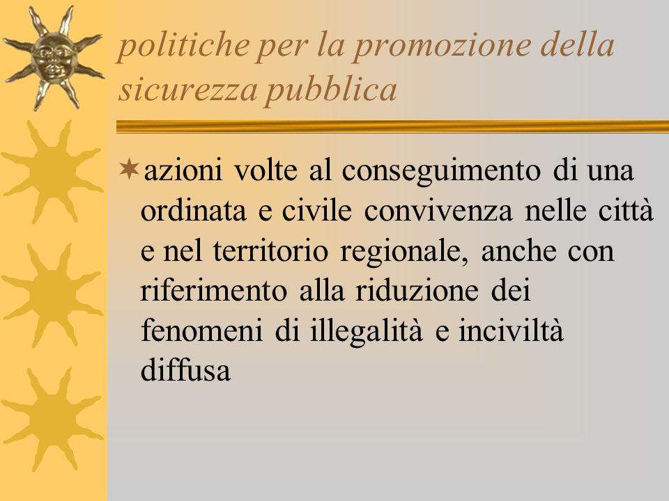 politiche per la promozione della sicurezza pubblica