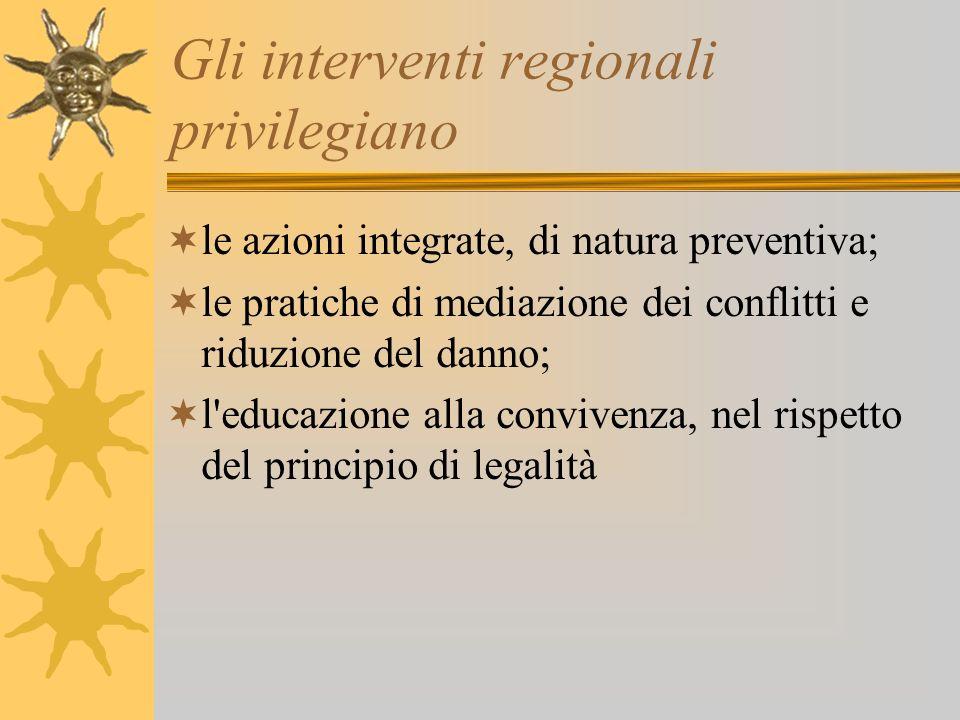Gli interventi regionali privilegiano