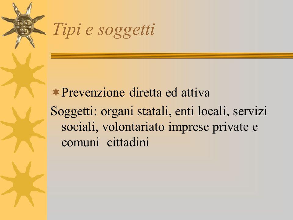 Tipi e soggetti Prevenzione diretta ed attiva