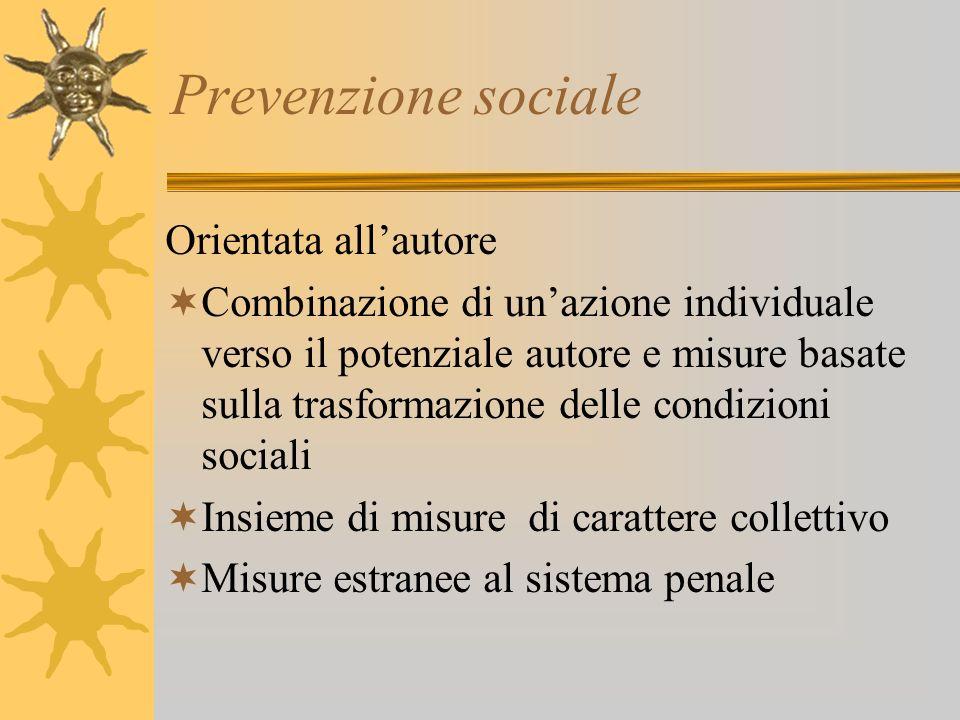 Prevenzione sociale Orientata all'autore