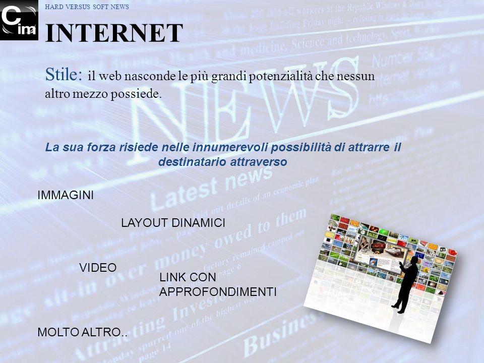 HARD VERSUS SOFT NEWS INTERNET. Stile: il web nasconde le più grandi potenzialità che nessun altro mezzo possiede.