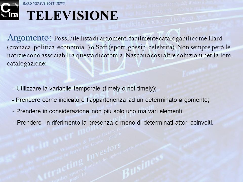 HARD VERSUS SOFT NEWS. TELEVISIONE.