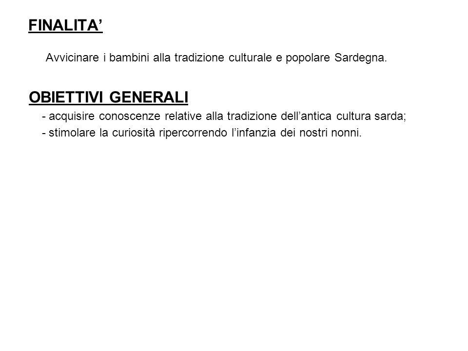Avvicinare i bambini alla tradizione culturale e popolare Sardegna.