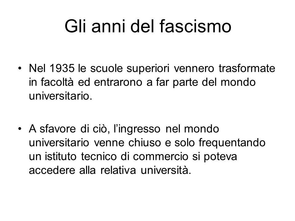 Gli anni del fascismo Nel 1935 le scuole superiori vennero trasformate in facoltà ed entrarono a far parte del mondo universitario.
