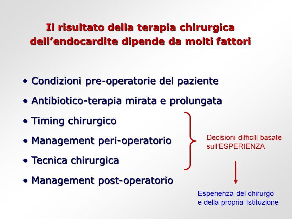 Condizioni pre-operatorie del paziente