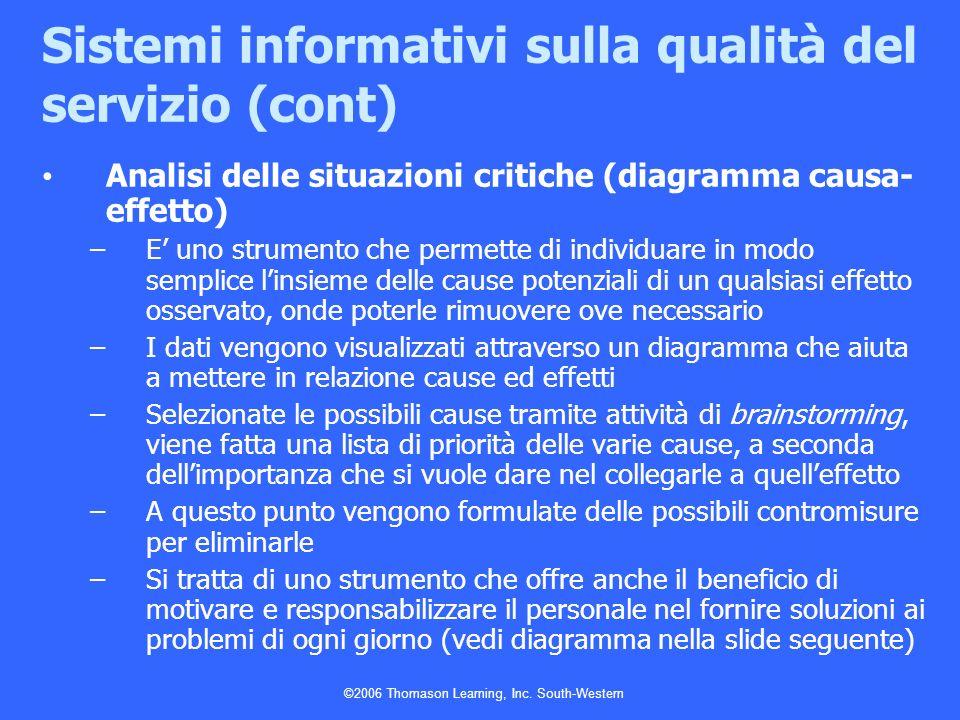 Sistemi informativi sulla qualità del servizio (cont)