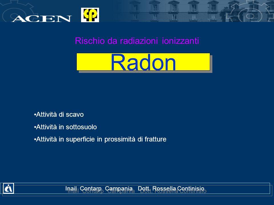 Radon Rischio da radiazioni ionizzanti Attività di scavo