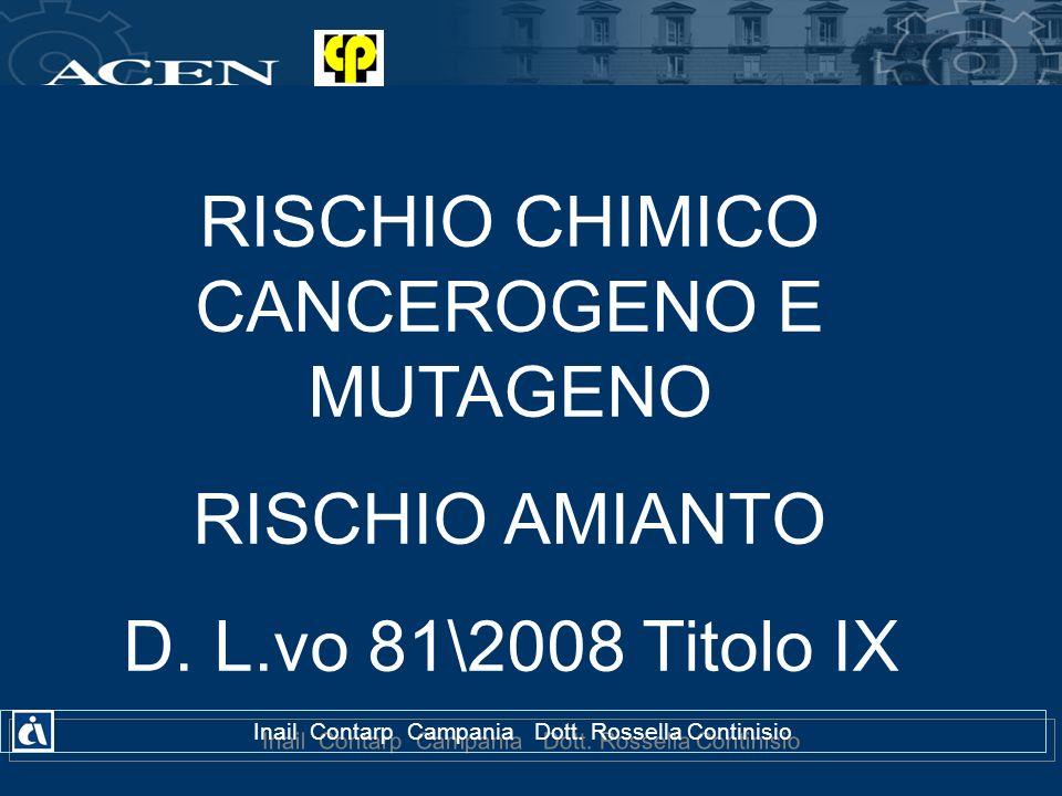 RISCHIO CHIMICO CANCEROGENO E MUTAGENO