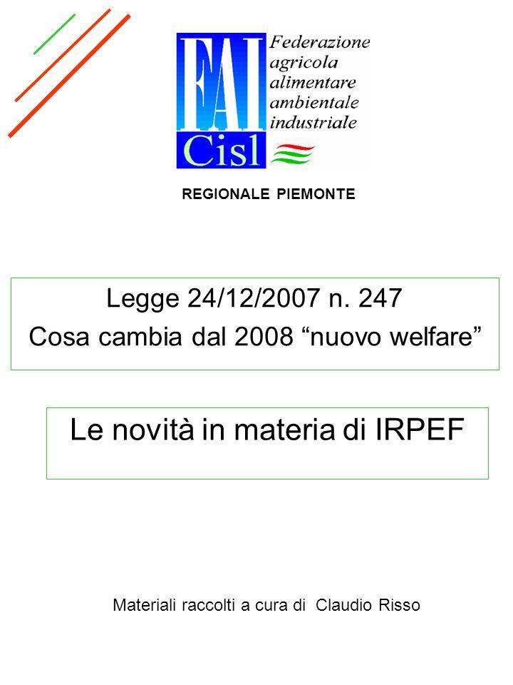 Le novità in materia di IRPEF