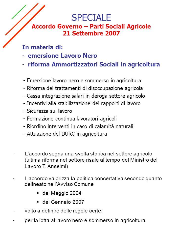 SPECIALE Accordo Governo – Parti Sociali Agricole 21 Settembre 2007