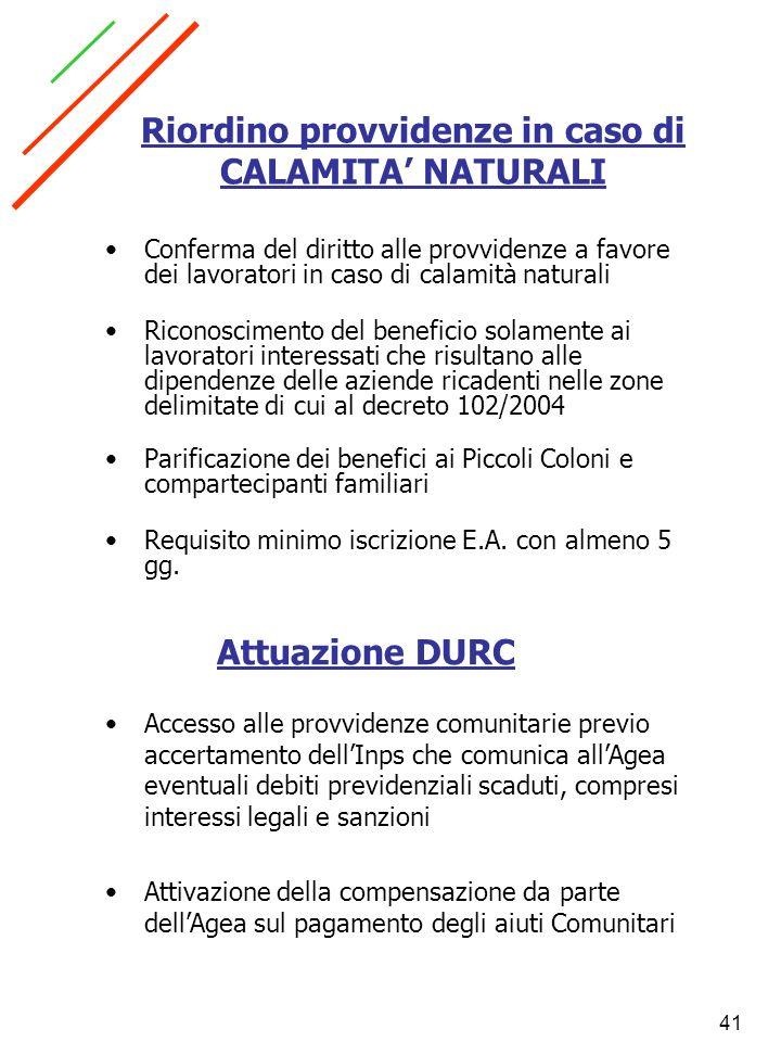 Riordino provvidenze in caso di CALAMITA' NATURALI