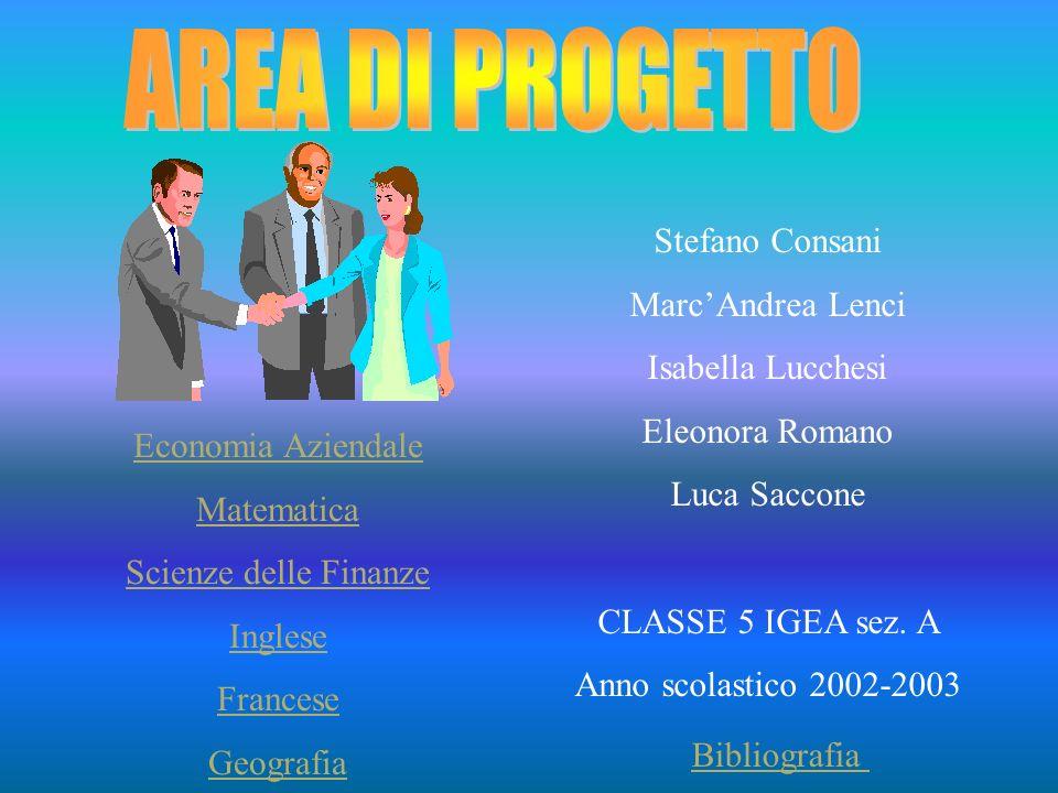 AREA DI PROGETTO Stefano Consani Marc'Andrea Lenci Isabella Lucchesi
