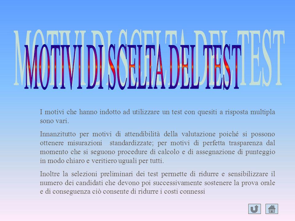 MOTIVI DI SCELTA DEL TEST
