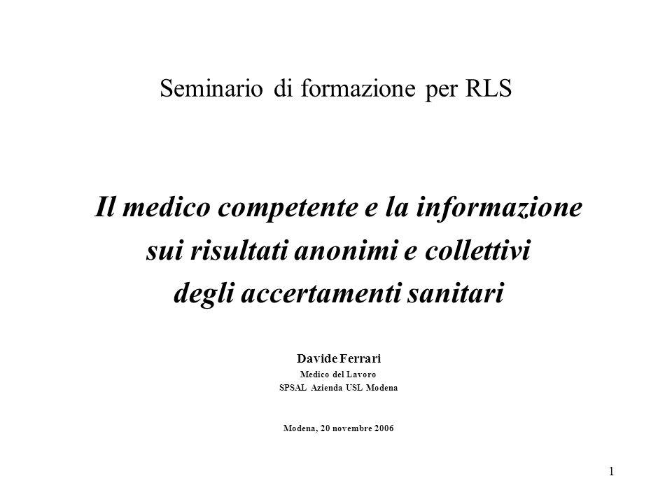Seminario di formazione per RLS