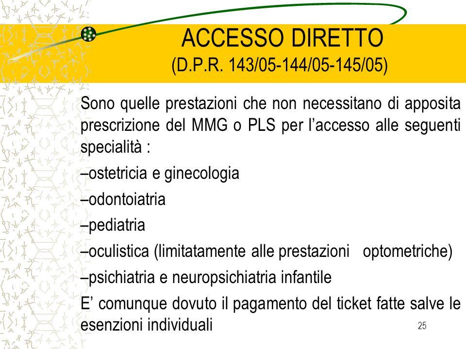 ACCESSO DIRETTO (D.P.R. 143/05-144/05-145/05)