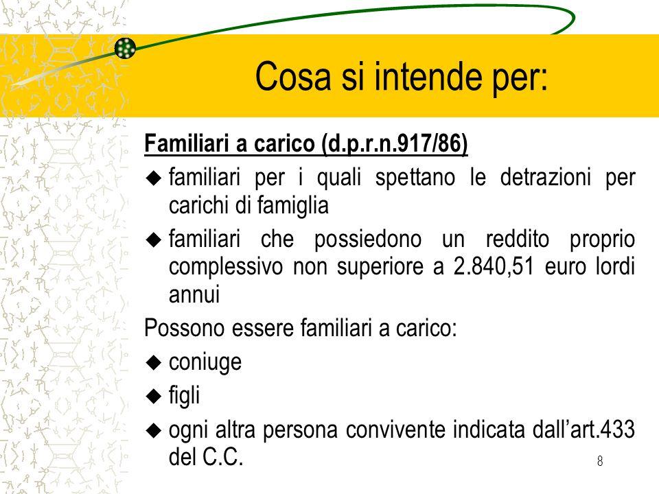 Cosa si intende per: Familiari a carico (d.p.r.n.917/86)