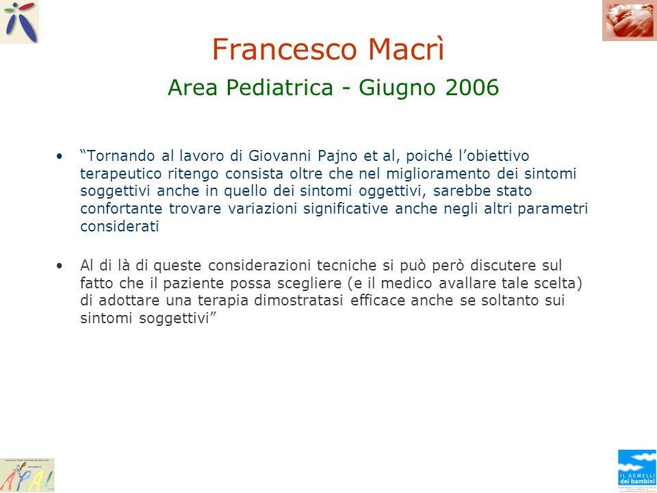 Francesco Macrì Area Pediatrica - Giugno 2006