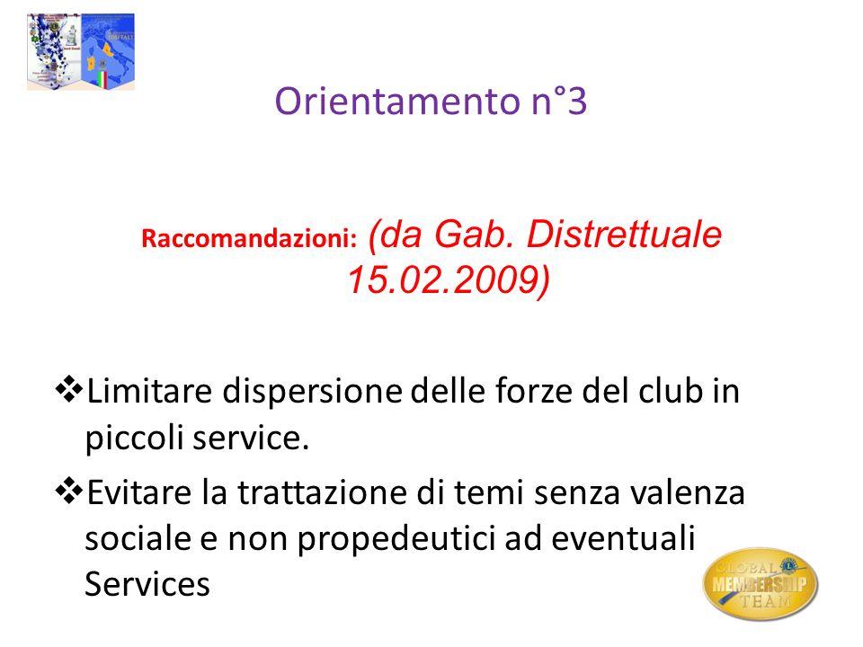 Raccomandazioni: (da Gab. Distrettuale 15.02.2009)