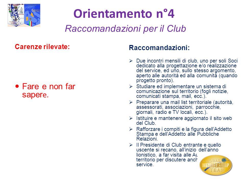 Orientamento n°4 Raccomandazioni per il Club