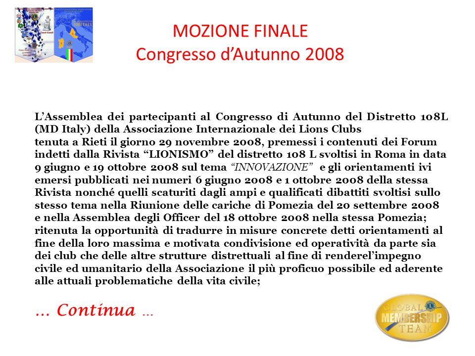 MOZIONE FINALE Congresso d'Autunno 2008