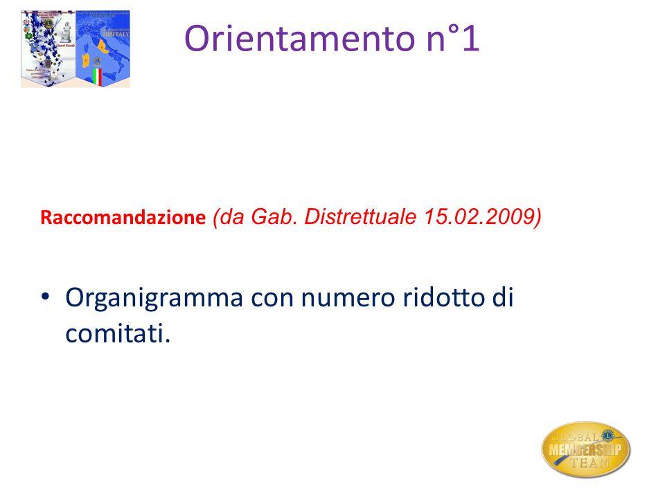 Orientamento n°1 Organigramma con numero ridotto di comitati.