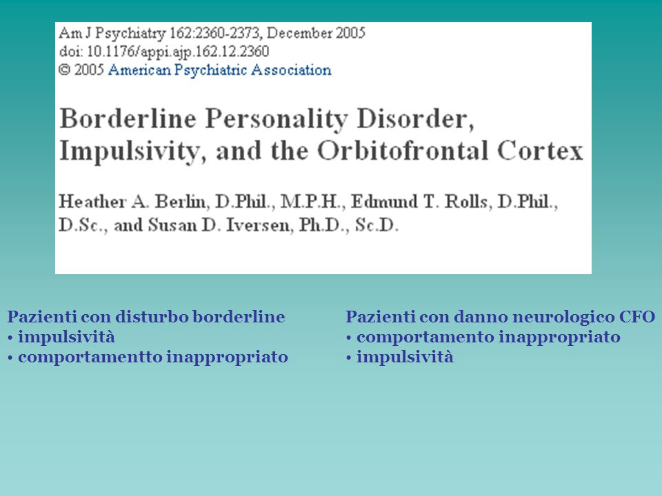 Pazienti con disturbo borderline