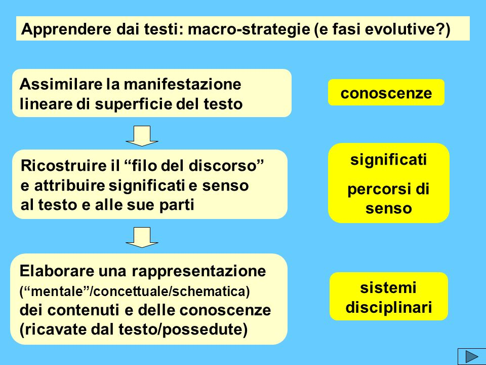 Apprendere dai testi: macro-strategie (e fasi evolutive )