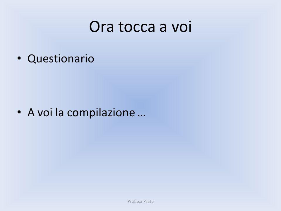Ora tocca a voi Questionario A voi la compilazione … Prof.ssa Prato