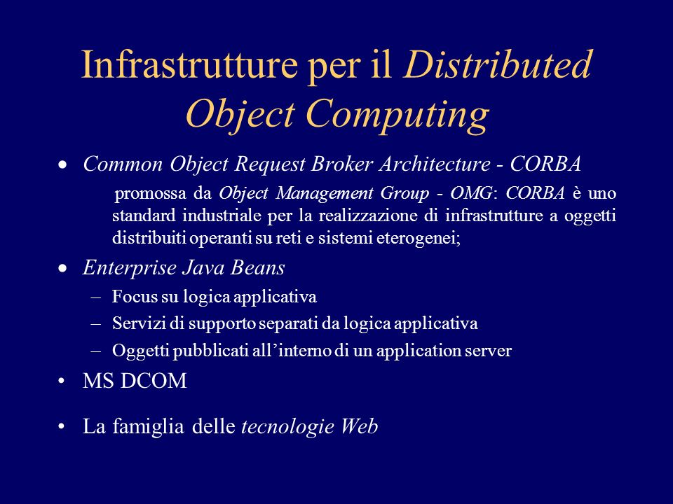 Infrastrutture per il Distributed Object Computing
