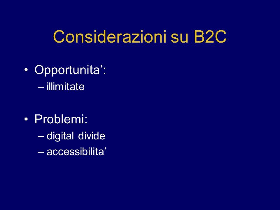 Considerazioni su B2C Opportunita': Problemi: illimitate