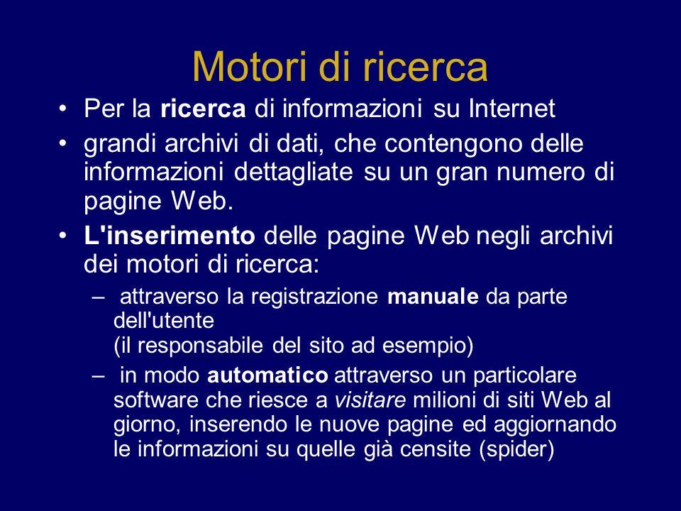 Motori di ricerca Per la ricerca di informazioni su Internet