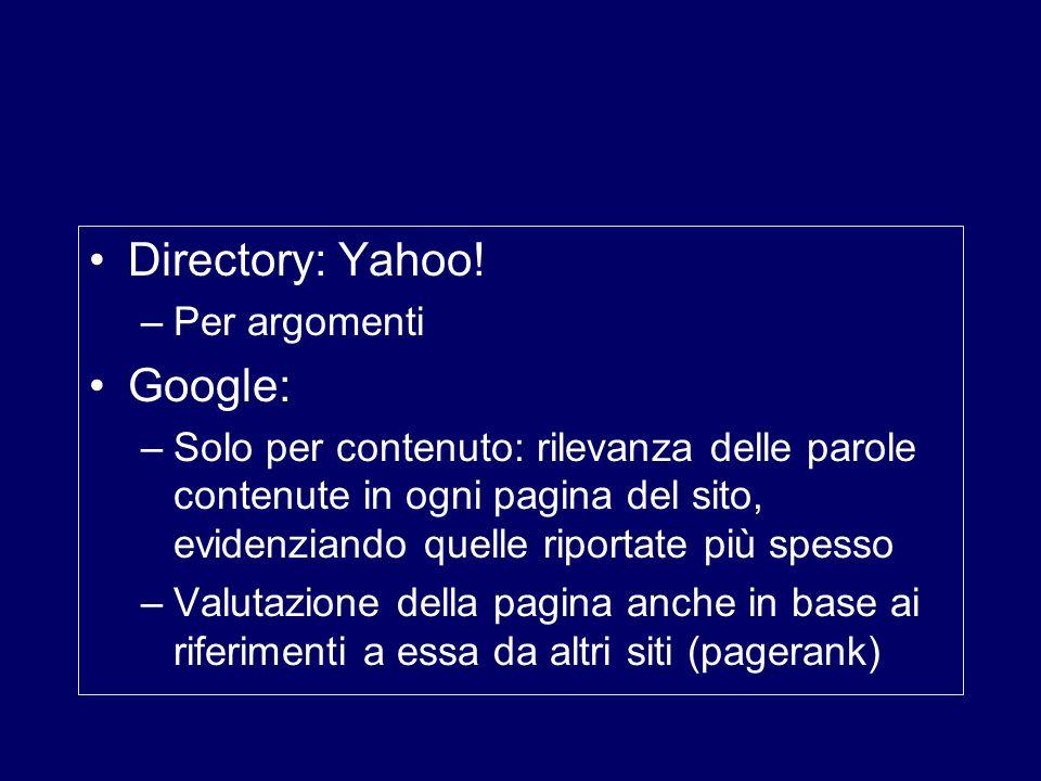 Directory: Yahoo! Google: Per argomenti